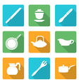 flat style white dinnerware icons set vector image vector image
