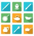 flat style white dinnerware icons set vector image