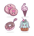 food cute biscuits ice cream cupcake donut cartoon vector image