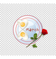 food idea for 8 march fried heart eggs and rose vector image vector image