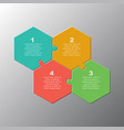 four piece step jigasw puzzle hexagon infographic vector image