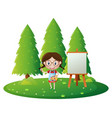 girl painting on canvas in the park vector image vector image