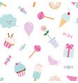 girly seamless pattern background with sweets vector image