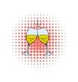 Glasses of white wine comics icon vector image vector image