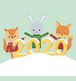 happy new year 2020 celebration cute rabbit bear vector image vector image