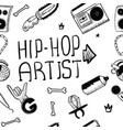 hip hop artist hip hop doodle pattern with rap vector image vector image