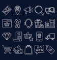 internet shop icon set in line style vector image