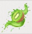 kiwi juice realistic splash icon vector image vector image