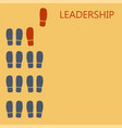 leadership concept red leaders shoe prints vector image
