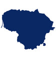 map lithuania in blue colour vector image vector image