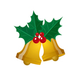 merry christmas leaf with golden bell vector image vector image