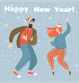 new year card with funny couple dancing twist vector image vector image