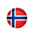 norwegian flag on the round button vector image