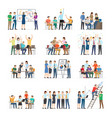office workers collaboration collection on white vector image vector image