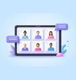 online meeting virtual conference video call vector image