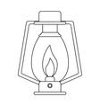 outline lamp kerosene old lantern camping vector image vector image