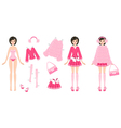 Paper Doll with Clothes in Pink