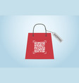qr code on shopping bag with label vector image vector image