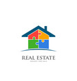 real estate house in puzzle pieces logo design vector image vector image