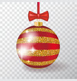 realistic 3d christmas ball on transparent vector image