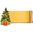 scroll with christmas tree vector image vector image