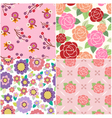 seamless decorative flower pattern vector image vector image