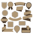 Set of cardboard emblems badges and ribbons