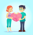 smiling young man and woman lovingly put together vector image vector image