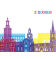 Stockholm skyline pop vector image vector image