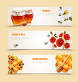 three honey banner set vector image vector image