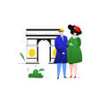 travel to france - colorful flat design style vector image