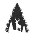 typography poster with deer silhouette and pine vector image