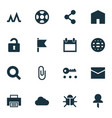 user icons set with privacy search mail and vector image