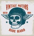 vintage motors ride hard vintage racer skull in vector image vector image