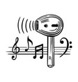 wireless headphones and music notes sketch vector image vector image