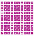 100 cyber security icons set grunge pink vector image vector image