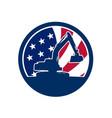 american excavator usa flag icon vector image vector image