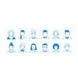 avatar line icons hand drawn interface user vector image