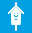 birdhouse icon white vector image vector image