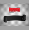 Black Ribbon Banner 3D Realistic vector image