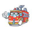 businessman fire truck character cartoon vector image vector image