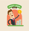 businessman hand holding money fast loan paying vector image
