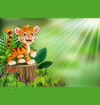 cartoon of tiger on tree stump with green leaves a vector image vector image