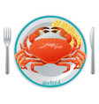 cartoon seafood meal concept vector image vector image
