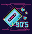 cassette tape of nineties and decoration vector image