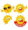 cheerful cartoon sun characters set vector image