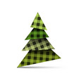 christmas tree from pieces of paper with plaid vector image vector image