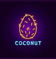 coconut neon label vector image