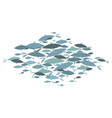 colored silhouettes groups sea fishes vector image vector image
