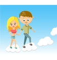 Cute Cartoon Boy and Girl With Love Walking on vector image vector image